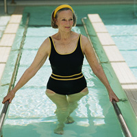 Woman undergoing hydroptherapy